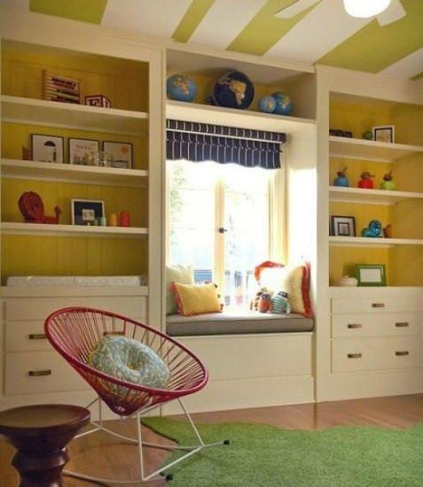 儿童房飘窗设计-书柜图片